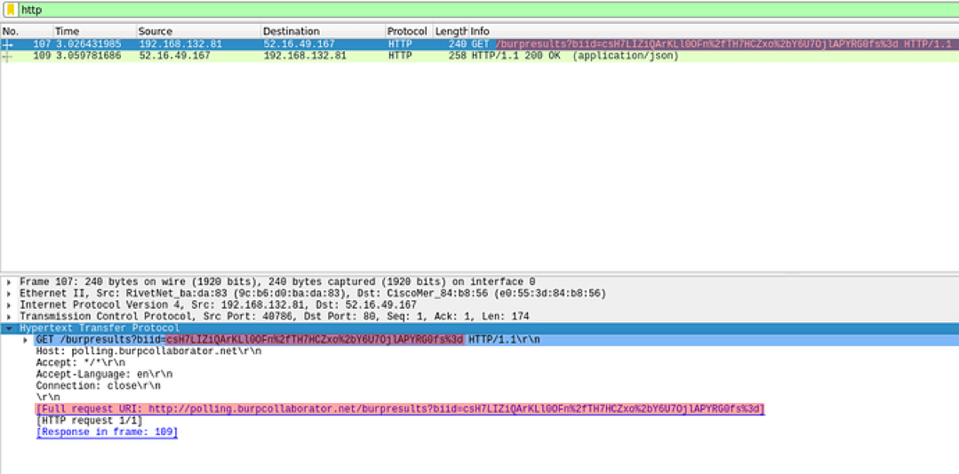 Screengrab Wireshark showing a HTTP request