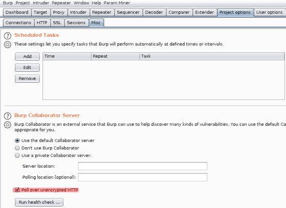 Screengrab of Burp Collaborator showing settings to poll over HTTP