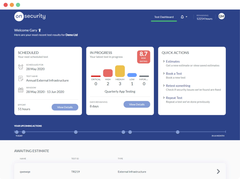 OnSecurity Penetration Testing Dashboard